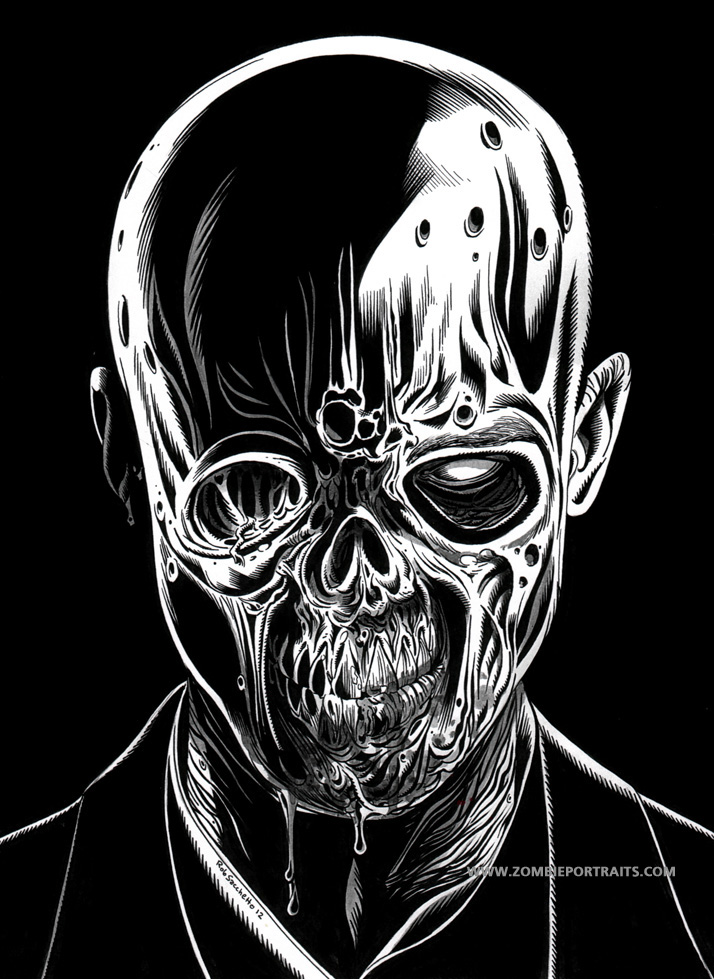 Black image of a zombie zombie artist rob sacchetto