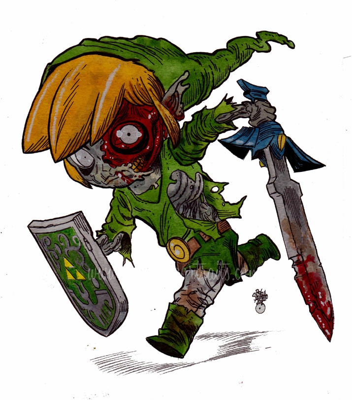 Zombie Legend of Zelda Toon Link - Zombie Art by Rob Sacchetto