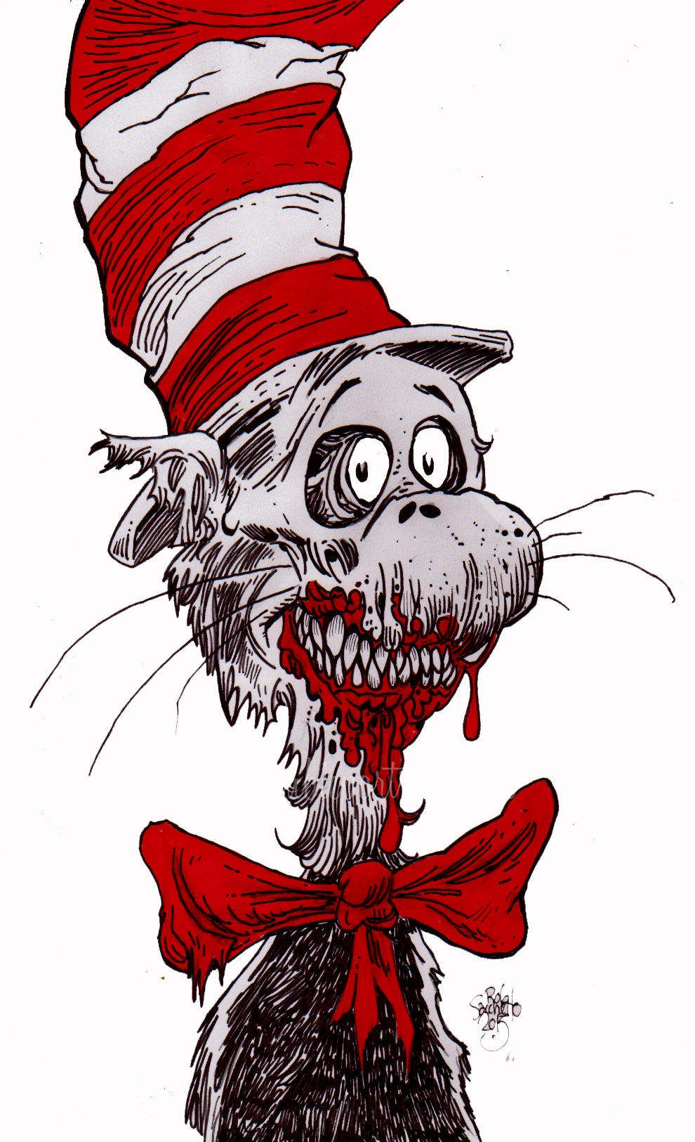 zombie art cat in the hat  zombie art by rob sacchetto dr seuss cat in the hat clipart Tie Clip Art Dr. Seuss Hat